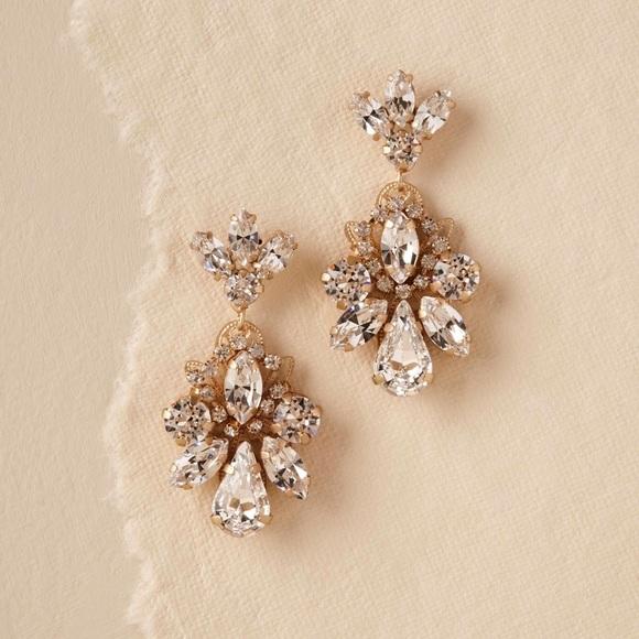BHLDN Elizabeth Bower Gold Gena Crystal Earrings